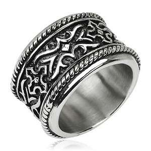 Stainless Steel Mens Ultra Wide & Ultra Heavy Embossed Band Ring Size