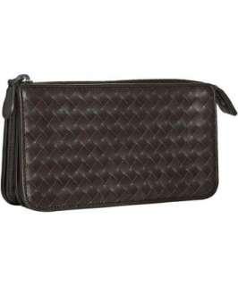 Bottega Veneta brown basketwoven leather zip top wallet   up