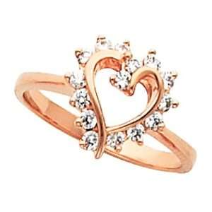 18K Rose Gold Diamond Heart Ring   0.30 Ct. Jewelry