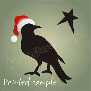 STENCIL Primitive Crow Santa Claus Hat Christmas signs