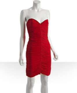 Nicole Miller red jersey butterfly pleated strapless dress
