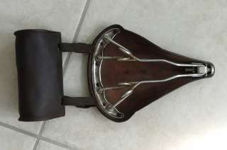 Nice   Brooks B 72 bicycle saddle/seat with leather tool bag   vintage
