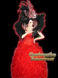RED SHOW GIRL DRAG QUEEN CABARET HEADDRESS COSTUME SET