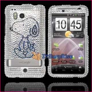 Bling Diamond Silver Snoopy Full Hard Case Cover For HTC Thunderbolt