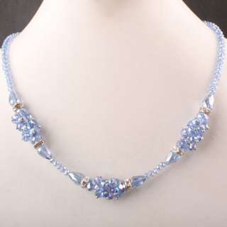 Blue Crystal Glass Faceted Bead Chain Necklace New