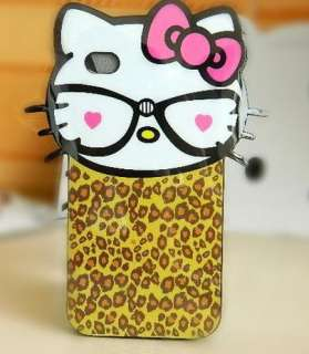 White Pink Leopard Hello Kitty Cute Soft TPU Back Case Cover for
