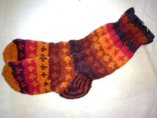 PURE WOOL HAND KNITTED SOCKS BED SOCKS NEPAL M L BROWN