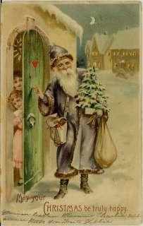 1905 Purple Suit SANTA CLAUS, Hold To Light Postcard
