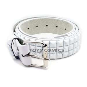 White 3Row Pyramid Studded Punk Leather Belt (Large)