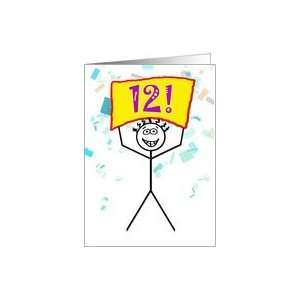 Happy 12th Birthday Stick Figure Holding Sign Card Toys