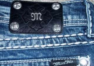 BUCKLE MISS ME Rhinestone Boot Cut Thick Stitch Stretch Jeans Size 32