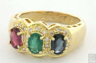75CTW DIAMOND/SAPPHIRE/EMERALD/RUBY COCKTAIL RING SIZE 6.75