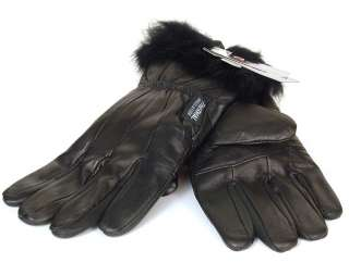 Womens Ladies Gloves Thermal Insulated Genuine Leather Faux Fur Trim
