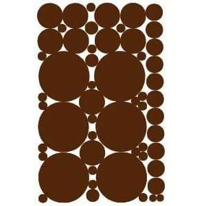 53 Chocolate Brown Polka Dot Peel and Stick Wall Stickers