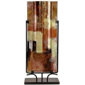 Fused Glass Vase, Gold Leaf, Red and Deep Brown Home & Kitchen