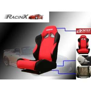 Red with Black Universal Racing Seats   Pair Automotive
