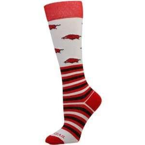 NCAA Arkansas Razorbacks Womens Striped Logo Knee Socks