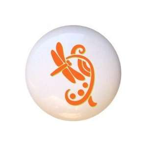 Bugs Insects Orange Green Dragonfly Drawer Pull Knob