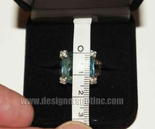 Yurman 15mm Blue Topaz Cushion On Point Size 7 Sterling Ring