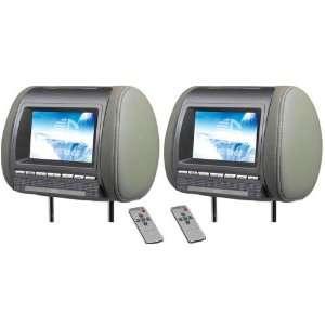 GRAY 7 HEADREST HIGH RESOLUTION TFT LCD CAR VIDEO MONITOR SCREENS
