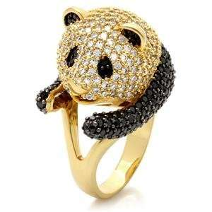 Size 10 Panda Bear Black Cubic Zirconia Brass Ring AM Jewelry