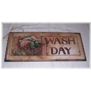 Large Wash Day Laundry Room Wooden Wall Art Sign Country Wash Basket