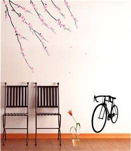 Bike & Cherry Blossom Wall Art Deco Flower Decal Mural Paper Sticker