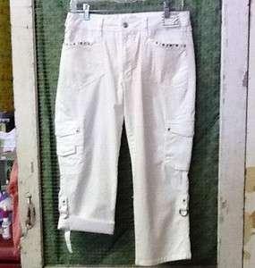 Ethyl Jeans White Cargo Capri W/ Roll Up Leg & Bling