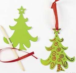 Christmas Tree Scratch Art Ornaments Kits Craft Kids