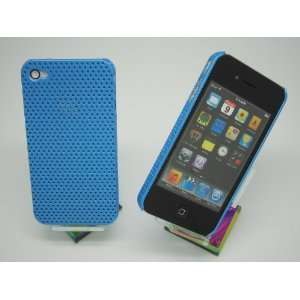iPhone 4 4S Light Blue Perforated Net Hard Case Cover + Free Clear