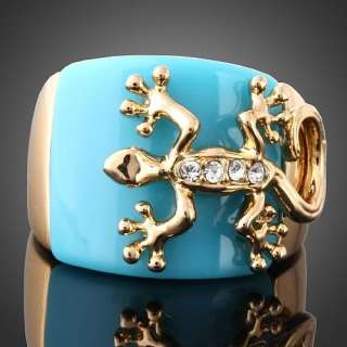 Cool Lizard on Blue Enamel GP Cocktail Fashion Rings