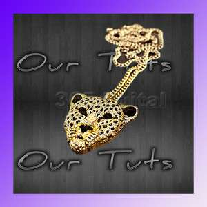 Hot Rhinestone Leopard Tiger Jaguar Lion Head Necklace