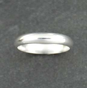 Sterling Silver Plain 4mm Band Wedding Ring Solid 925 Jewelry Rounded