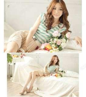 HOT Korean Stylish Sweet Stripe Mini Skirt Short Sleeve Dress