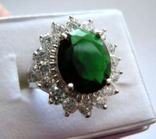 Designer Inspired EMERALD GREEN CZ Womens Ring Sz 10