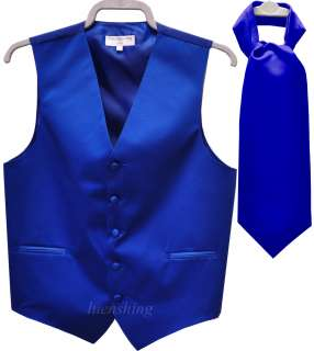 Purple Prom Dress on New Prom Mens Tuxedo Vest Waistcoat And Ascot Royal Blue L
