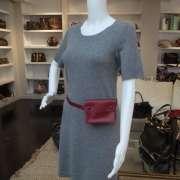 HERMES Vintage Box Leather Waist Belt Bag Wallet Red