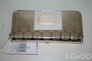 New Michael Kors Jet Set Monogram Mirror Metallic Wallet (Pale Gold