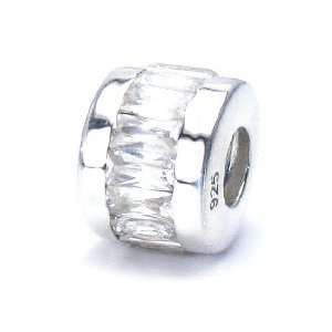 Cut Cubic Zirconia   14 Stones Set in Solid Sterling Silver   European