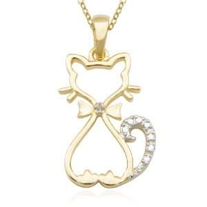 Gold Plated Sterling Silver Diamond Accent Cat Pendant, 18 Jewelry