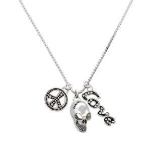 Large Silver Skull, Peace, Love Charm Necklace [Jewelry] Jewelry