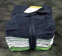 12 GREEN WHITE DARK LIGHT BLUE BATHROOM WASHCLOTHS SET