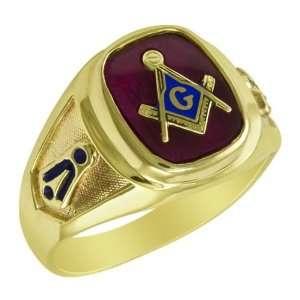 10k Yellow Gold Antique Ruby Blue Lodge Masonic Ring. Jewelry