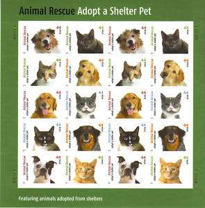 2010 ANIMAL RESCUE ADOPT A PET .44 Sheet of 20 STAMPS