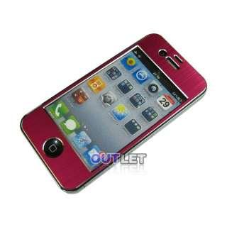 Red Aluminium Sticker Skin Cover+Bumper Case+Screen Protector For