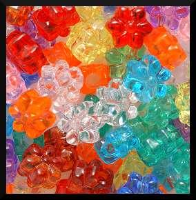 50 Flower Pony Beads Translucent 1/2 13mm Kids ABCraft