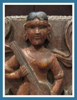 Primitive Folk Wood Carved Hindu Angel Santos Panel