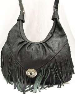 Tassel Genuine LEATHER Shoulder Bag PURSE Hobo Black NWT Large Handbag