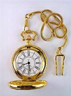 Old CAR Carved Gold Mesh Cord Hook Pocket Watch USA SELLER