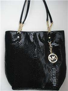 Kors JET SET CHAIN TOTE Black PYTHON NWT $248 SAME DAY SHIP